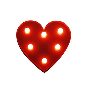 BRELONG 3D Warm White Kids Room Night Light Christmas Wedding Decorative 4.5V - Heart ( No Battery ) (RED)