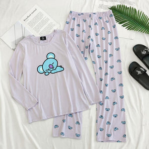 Bts Hoodies Kpop Bangtan Boys Bt21 Cartoon Pajamas Set Cotton O-Neck Pullover Homeware Shirt Nighty Women Sleepwear