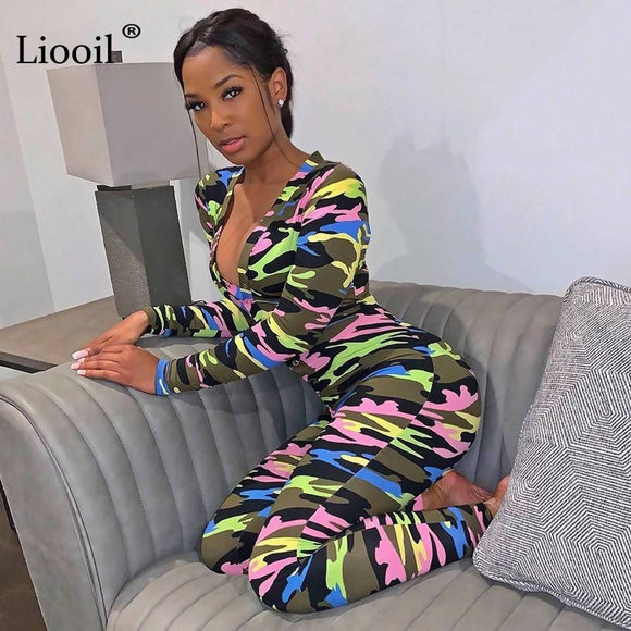 Camouflage Print Sexy One Piece Jumpsuits Fall 2019 Long Sleeve Deep V Neck Button Up Party Club Rompers