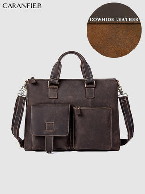 CARANFIER Briefcases Mens Document Business Bags Genuine Cowhide Leather Laptop Totes Vintage Handbags Male Solid Shoulder Bags
