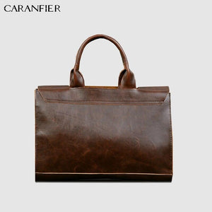 CARANFIER Mens Briefcase PU Leather Handbags Crazy Horse Business Casual Shoulder Crossbody Bags High Quality Solid Laptop Bags