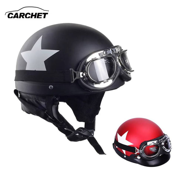 Carchet Motorcycle Half Face Helmets With Goggles