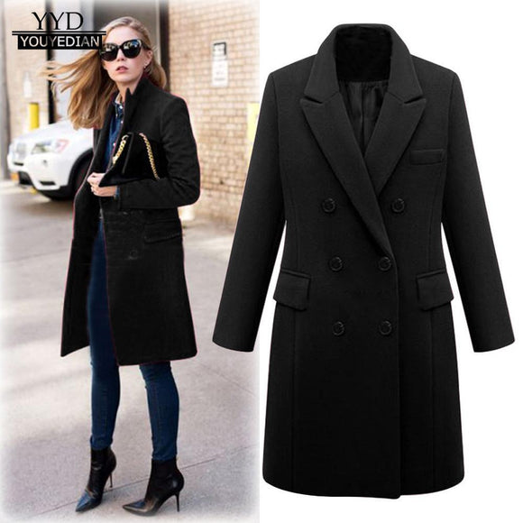 Casaco Women's Women Long Coat Winter Lapel Wool Trench Jacket Parka Overcoat Outwear Abrigos Invierno Black 4XL