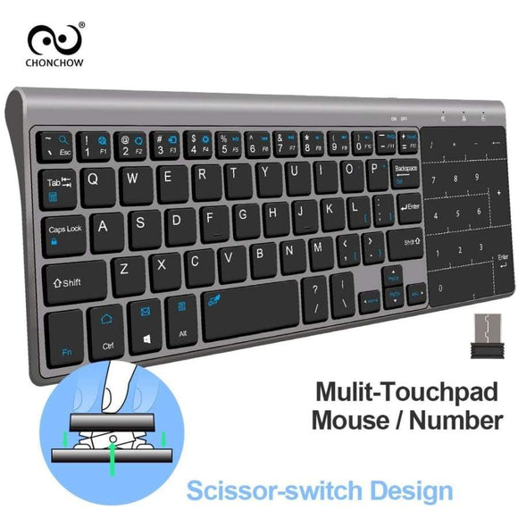 Chenchow 2.4G Mini Wireless Keyboard Touchpad Portable Usb Air Mouse For Mac Pc Window 7/10 Vista Android Smart Tv Box