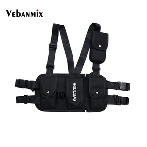 Chest Rig Black Waist Bag Pack Multi-Pocket Hip Hop Streetwear Functional Military Tactical Kanye West