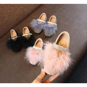 Children Princess Shoes Girls With Pink Fur Leather Wedding Party Kids Dress 13.5-22 Cm