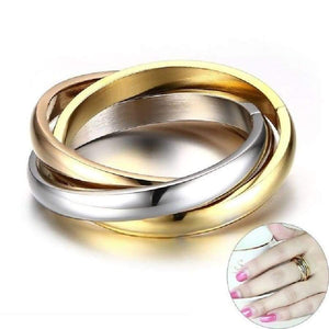Classic 3 Rounds Ring Sets For Women Stainless Steel Wedding Engagement Female Finger Jewelry