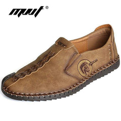 Classic Comfortable Men Casual Shoes Loafers Quality Split Leather Flats Moccasins Plus Size Yellow