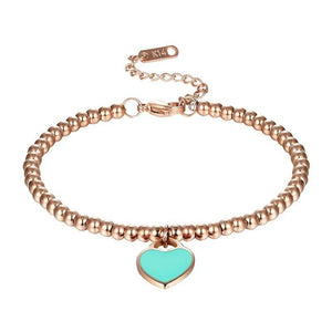 Classic Light Blue And Pink Enamel Heart Charm Bead Bracelet Stainless Steel