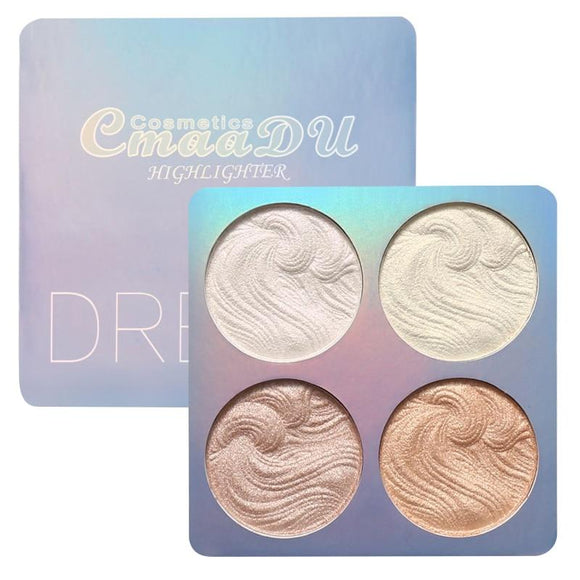 CmaaDu 4 Colors Highlighter Shimmer Shine Palette Illuminator Bronzer Powder Makeup Brighten Contouring Face Powder TSLM2