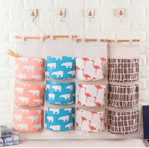 Cotton Linen Wall Hanging Storage Bags Organizer 3 Pockets Closet Children Room Pouch For Toys Books Cosmetic Sundries