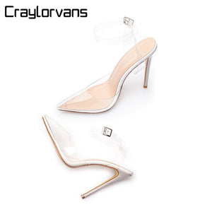 Craylorvans Transparent Shoes Summer Gladiator Sandals Women Party Wedding Tacones Transparentes High Heels