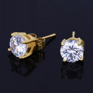 Cubic Zirconiaia Stud Earring Hip Hop Jewelry Copper Material Iced Bling Aaa Cz Round Gold Earrings For Men Women Push Back
