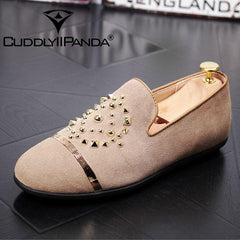 Cuddly Panda Men Sneakers  Genuine Leather Luxury Rivets Casual Shoes Man Party Wedding Dress Loafers - Xodeys.com