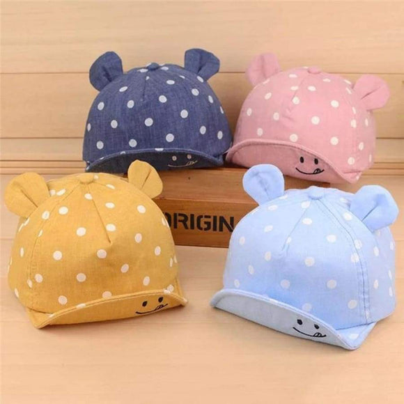 Cute Baby Hats Boys Girls Kids Polka Dot Peak Hat Smiling Face Wave Point Baseball Cap Sun Hat Enfant