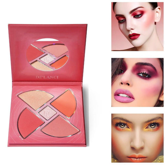 DE'LACNI Blush and highlighter Palette Face Makeup Cosmetics Kit Cheek Glow Kit Shimmer Bronzer (Army Green)