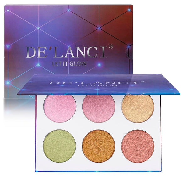 DE'LANCI Glow Kit Highlighter Palette Face Makeup Duo Chrome Illuminator Highlighter & Bronzer Powder Contour Collection Set