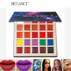 DE'LANCI Matte Lipstick Palette Multishade lip palette Beauty Makeup 25 Colors Professional Lipgloss Halloween Face Paint Oil