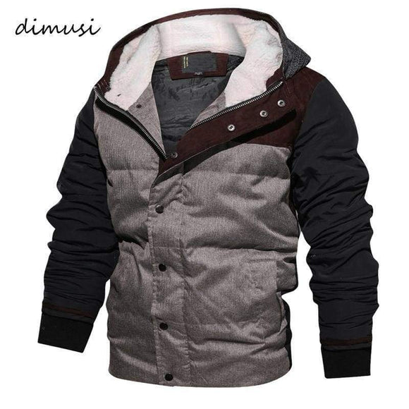 Dimusim Padded Men Winter Bomber Jacket Thick Thermal Down Cotton Parkas Casual Hoodies Stand Fur Collar Warm Coats Ta133