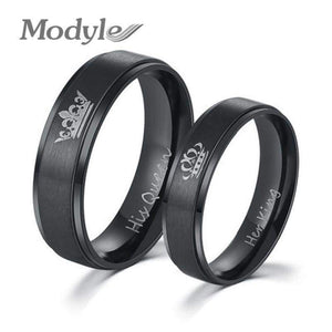Diy Couple Jewelry Her King & His Queen Stainless Steel Wedding Rings For Women Men