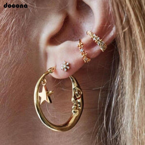 Docona Gold Color Tiny Star Crystal Flower Moon Round Stud Earrings Set for Women Punk Geometric Piercing Earring Ear Cuff 8060
