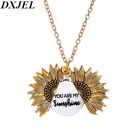 Double Sided Two Sides Higher Quality Custom You are my sunshine Open Locket Sunflower Pendant Necklace for Women Dropshipping