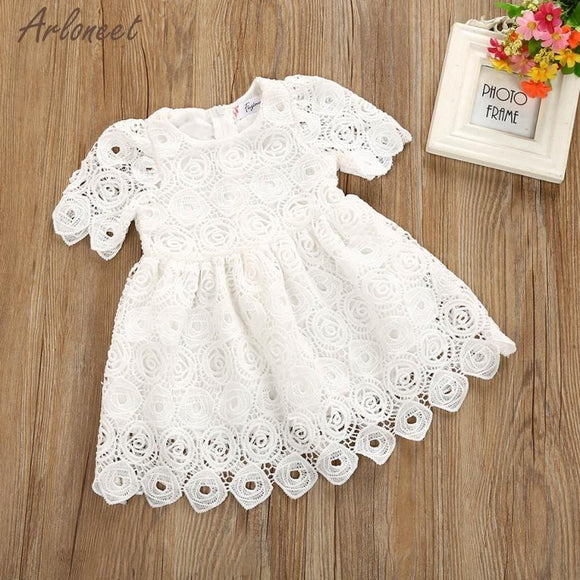 Dress Baby Lace Short White Summer Floral Knee-Length A-Line Party Jan