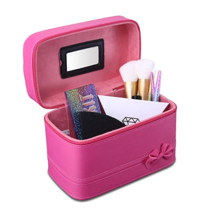 Dressing Case Portable PU Cosmetic Box Makeup Set Storage Bag Large Capacity 2 Color Empty Make Up Kit Tool with Mirror for Girl