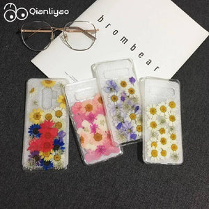 Dried Real Flowers Handmade Clear Phone Cases For Samsung Galaxy S8 S9 S10 Plus Note 8 9 Floral Soft TPU Back Cover