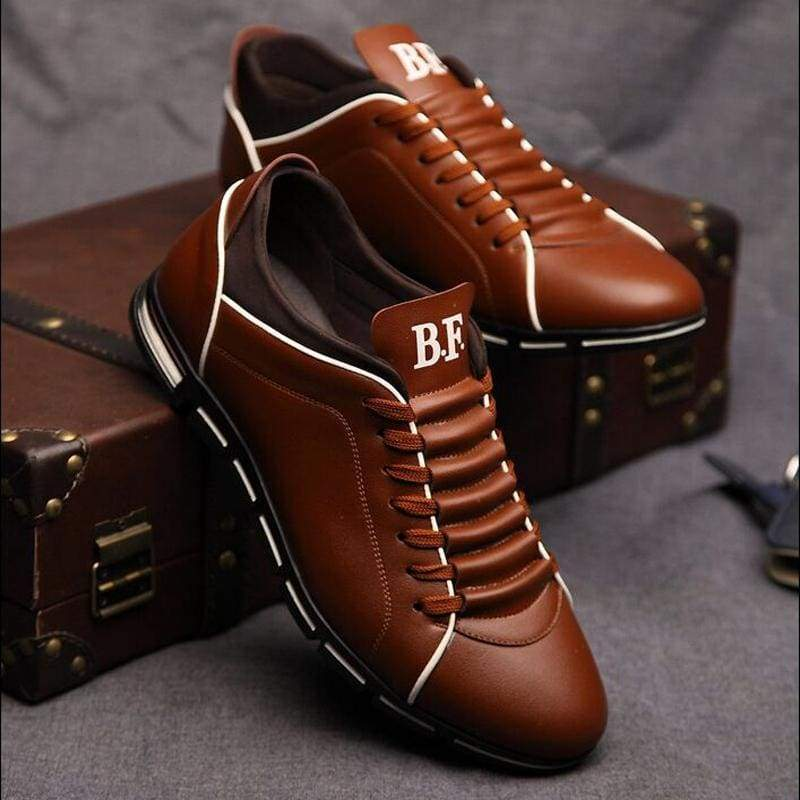 England Men's Trend Of Shoes Casual Leather Breathable Four Brown Blue