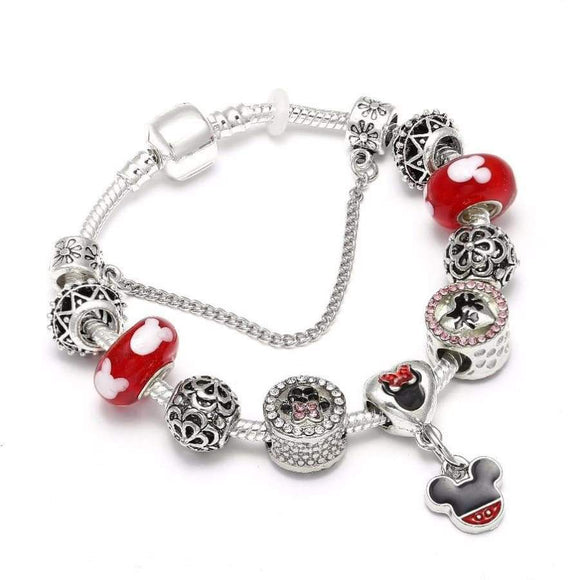 European Style Mickey Mouse Charm Bracelets & Bangle Original Diy Red Minnie Pandora Bracelet For Women