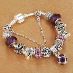 European Style Vintage Silver Plated Crystal Charm Bracelet Women Fit Original Diy Pandora Jewelry - Xodeys.com