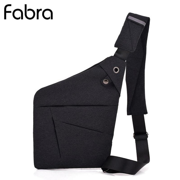 Fabra Anti-Theft Men Messenger Shoulder Bags Chest Pack Retro Trapezoid Sharp Crossbody Bag Motorcycle Sling Black