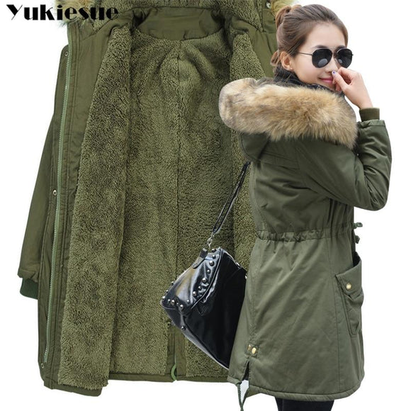 Fashion Autumn Warm Winter Jackets Women Fur Collar Long Parka Plus Size lapel Casual Cotton Womens Outwear Park Plus size