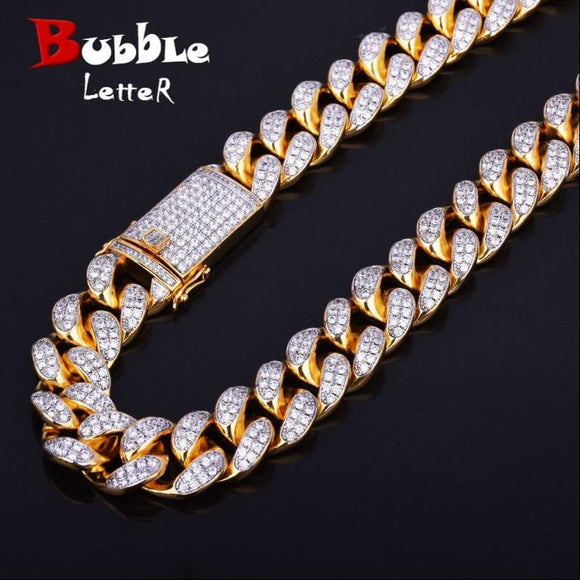 Finish Men's 20Mm Heavy Iced Zircon Miami Cuban Link Necklace Choker Bling Hip Hop Jewelry Gold Silver Chain 18