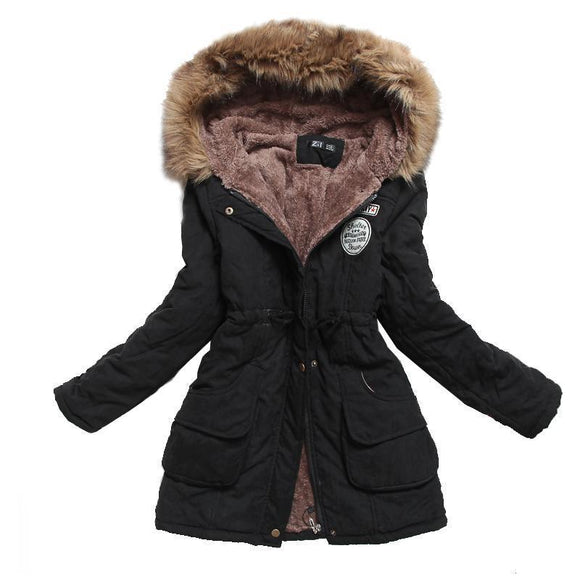 Fitaylor Winter Jacket Women Thick Warm Hooded Parka Cotton Padded Coat Long Paragraph Plus Size 3Xl Slim Female 1 L