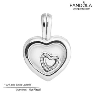 Fits Pandora Charms Bracelets 925 Sterling Silver Heart Floating Locket Beads For Diy Bracelet Jewelry Making Berloque