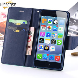 Flip Leather Case For Iphone 5 5S Se 6 6S 7 Plus Card Slots Stand Wallet Cover Apple