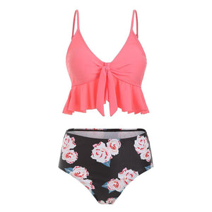 Flounce Floral High Waisted Tankini Set