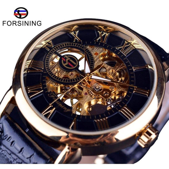 Forsining Men's Watches Mechanical Skeleton Watch Black Golden 3D Literal Design Roman Number Dial Clock Brown White