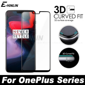 Full Cover 3D Edge Curved Fit Tempered Glass For One Plus Oneplus 6 5T 5 3 3T A6000 A5010 A5000 A3010 Screen Protector Film