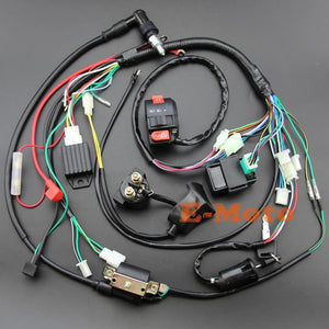Full Electrics Wiring Harness Coil Cdi Spark Plug Kits For 50Cc 70Cc 90Cc 110Cc 125Cc 140Cc Atv Quad Pit Dirt Bike Buggy Go Kart