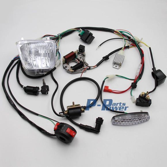 Full Electrics Wiring Harness Loom Solenoid Magneto Coil Rectifier Cdi Light 50Cc-125Cc Atv Quad Bike Go Kart Buggy