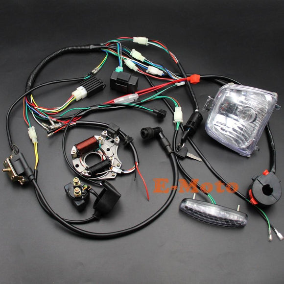Full Wiring Loom Harness Cdi Coil Regulator Magneto Lights Key Switch 50Cc 70Cc 90Cc 110Cc 125Cc Atv Quad Bike Buggy E-Moto