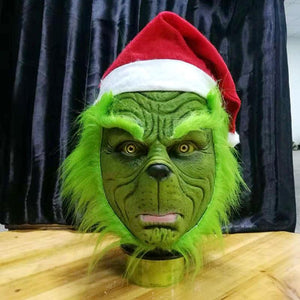 Funny Grinch Stole Christmas Cosplay Party Mask Hat Xmas Full Head Latex With Further Adult Costume Props