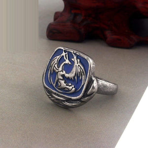 Game Dark Souls Iii Standing Dragon Emblem Ring Biting Blood Greedy Silver Snake Lion Green Flower Rings Women Men Jewelry