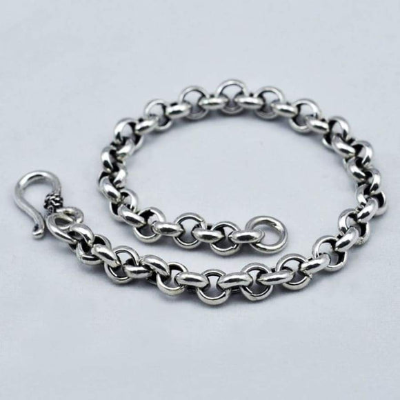 Genuine 925 Sterling Silver Bracelet For Men & Women O Type Chain Vintage Handmade Mens Bracelets Armbanden Voor Vrouwen