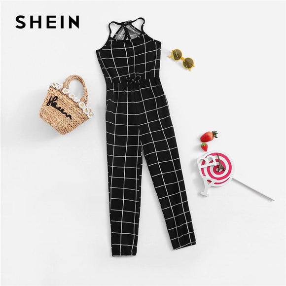 Girls Black And White Plaid Drawstring Waist Grid Jumpsuit Children Spring Sleeveless Casual Kids Jumpsuits