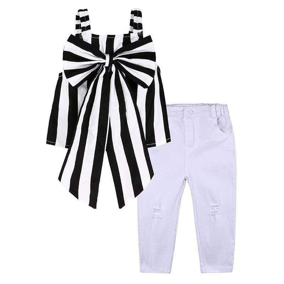 Girls Suit Stripe Tops & Pants 2 Pieces The Strapless Set Kids Bowknot Hole White Clothing Dtz 346