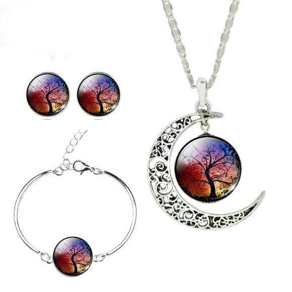 Glass Cabochon Necklace Earrings Bangle Set (Totally 4 Pcs) Colorful Life Tree Art Picture Pendant Statement Chain